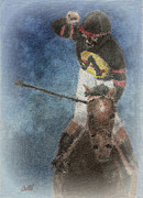 Horse Racing Art Prints - At The Finish Line Print by Arline Wagner
