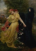 Red Robe Prints - At The First Touch of Winter Summer Fades Away Print by Valentine Cameron Prinsep