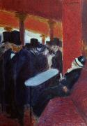 Gouache Paintings - At the Folies Bergeres by Jean Louis Forain