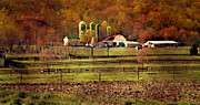 Amish Farm Posters - At The Foot Of The Mountain Poster by Kathy Jennings