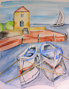 Moored Paintings - At the harbor by Eva Ason