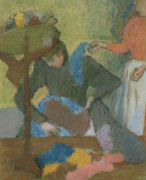 The Pastels Prints - At the Hat Maker Print by Edgar Degas