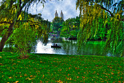 Central Park Skyline Prints - At the Lake in Central Park Print by Randy Aveille
