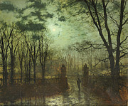 Moonlit Night Painting Posters - At the Park Gate Poster by John Atkinson Grimshaw