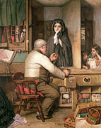 Money Painting Prints - At the Pawnbroker Print by Thomas Reynolds Lamont