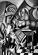 Cubism Posters - At The Piano Bar Poster by Anthony Falbo