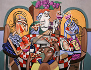 Cubism Painting Posters - At The Pizzeria Poster by Anthony Falbo