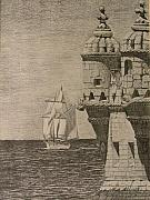 Sailboats Drawings - At the Point by Dan Hausel