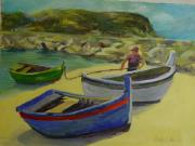 Portugal Art Paintings - At the Port of Sesimbra by Betty J Bee