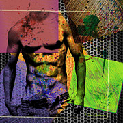 Guy Mixed Media - At The Right Mood by Mark Ashkenazi