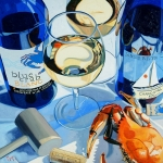 Oil Wine Paintings - At the Rivah by Christopher Mize