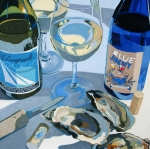 Wine Paintings - At The Rivah Number Two by Christopher Mize