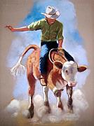 Bulls Pastels Posters - At The Rodeo Poster by Joyce Geleynse