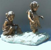 Little Girls Sculptures - At the Shore by Bonnie Freireich
