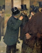 Business Paintings - At the Stock Exchange by Edgar Degas