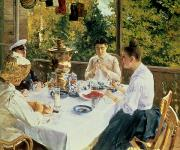 Dine Posters - At the Tea-Table Poster by Konstantin Alekseevich Korovin