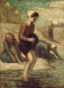 Bathing Washing Cleaning Prints - At the Waters Edge Print by Honore Daumier