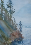 Waterscape Painting Framed Prints - At The Waters Edge Framed Print by Jenny Armitage