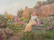 Stone Cottage Paintings - At the Well by William Ashburner