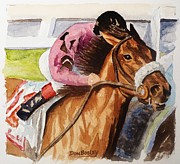 Jockey Painting Originals - At the Wire by Don Bosley