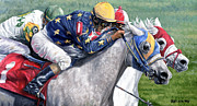 Jockey Paintings - At the Wire by Thomas Allen Pauly
