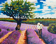 Santo De Vita - At work in lavender field