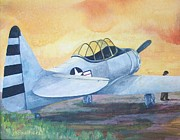 Vintage Aircraft Paintings - AT6 Checkin It Twice by Judith A Smothers