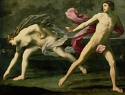 Man And Woman Posters - Atalanta and Hippomenes Poster by Guido Reni