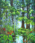 Vegetation Paintings - Atchafalaya Swamp by Dianne Parks