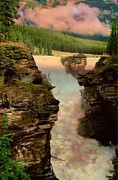 Dark Green Framed Prints - Athabasca Falls Evening Framed Print by Shirley Sirois