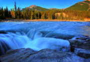 Park Scene Digital Art - Athabasca Falls in Jasper National Park by Mark Duffy
