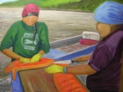 Salmon Painting Posters - Athabaskan Women Cutting Salmon Poster by Amy Reisland-Speer