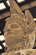 Greek Helmet Posters - Athena Sculpture Sepia Poster by Linda Phelps