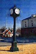 Painted Hall Photos - Athens Alabama City Clock by Kathy Clark