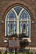 Athens Alabama First Presbyterian Church Stained Glass Window Print by Kathy Clark