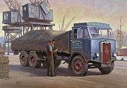 Nostalgia Paintings - Atkinson at the docks by Mike  Jeffries