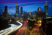 Landscapes Posters - Atlanta downtown by night Poster by Inge Johnsson