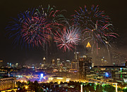 4th July Digital Art Posters - Atlanta Fireworks Poster by Anna Rumiantseva