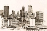 Skylines Drawings Posters - Atlanta Skyline Poster by Pamir Thompson