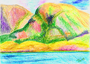 Norway Pastels Prints - Atlantic mountains 3 Print by Taruna Rettinger