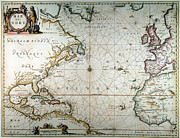 Jansson Posters - Atlantic Ocean Map, 1650 Poster by Granger