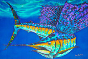 Sports Tapestries - Textiles Prints - Atlantic Sailfish II Print by Daniel Jean-Baptiste