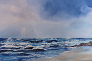 Sun Rays Painting Prints - Atlantic Waves Print by Margaret Denholm