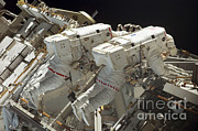 Atlantis Prints - Atlantis Astronauts On Spacewalk Print by Nasa