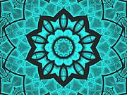 Turquoise Stained Glass Prints - Atlantis Stained Glass Print by Roxy Riou
