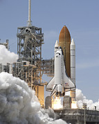 Atlantis Prints - Atlantis Twin Solid Rocket Boosters Print by Stocktrek Images