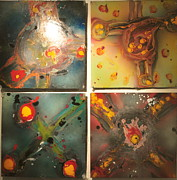 Molecule Paintings - Atom and Molecule by Adrian Rodriguez