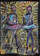 Ballet Dancers Mixed Media Prints - Atomic Ballet Print by Robert Wolverton Jr