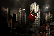 Humour Art Framed Prints - Attack of The Giant Killer Ladybug of San Francisco . 7D4262 Framed Print by Wingsdomain Art and Photography