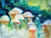 Green Painting Originals - Attack of the Portuguese Jellyfish by Kathy Braud